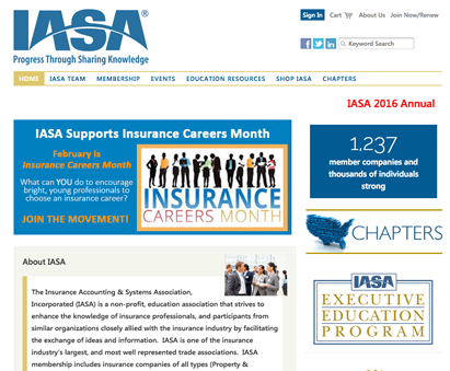 Insurance Accounting and Systems Association powers their website with iMIS CMS